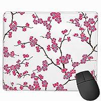 桜の花 マウスパッド 25x30cm レーザー&光学マウス対応 防水/洗える/滑り止め 中型 ブラック