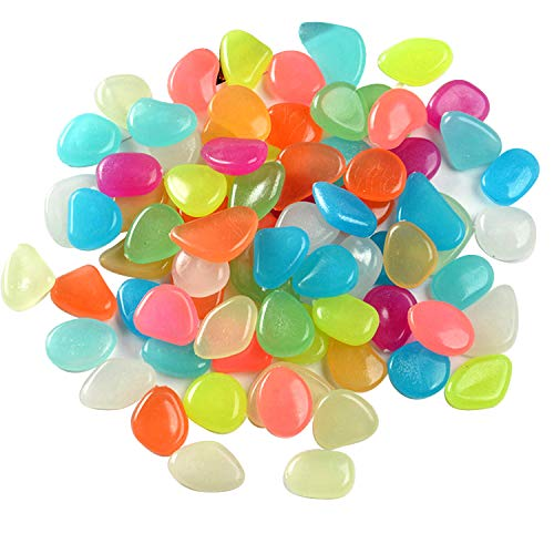 Farbe Leuchtsteine, Aquarium Leuchtende Steine 100 Stücke, leuchtet im Dunkeln, Leuchtsteine Garten Farbe Dekorative Steine für Gehwege Outdoor Decor Pfad Rasen Garten Kinderzimmer