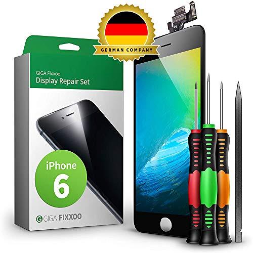 GIGA Fixxoo Display Set kompatibel mit iPhone 6, Reparaturset Komplett Schwarz, Ersatz Bildschirm, Retina LCD Glas mit Touchscreen, inkl. integrierte Frontkamera & Werkzeug