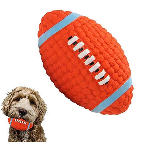 LYINBO Gummiball für Hunde, quietschendes Hundespielzeug, Rugby-Ball, quietschender Latex-Gummi, Hundespielzeug-Bälle, bissfest, Zahn-Trainingsspielzeug für Hunde – 14 x 8 cm