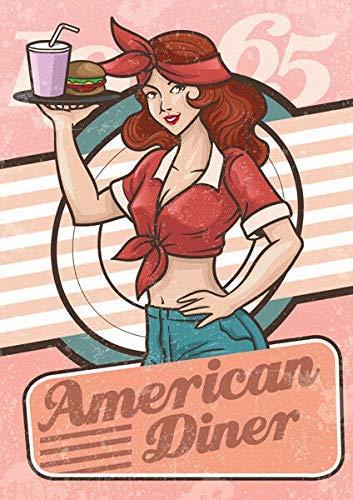 HONGXIN American Diner - Cartel de metal vintage para decoración de casa, bar, pub, garaje, banda, cerveza, huevos, café, supermercado, granja, jardín, dormitorio