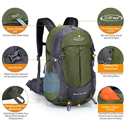 G4Free 35L Hiking Backpack Water Resistant Outdoor Sports Travel Daypack Lightweight with Rain Cover for Women Men ( Army Green)