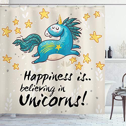ABAKUHAUS Einhorn Duschvorhang, Zitat Glück für Kinder, Bakterie Schimmel Resistent inkl. 12 Haken Waschbar Stielvoller Digitaldruck, 175 x 200 cm, Blau Gelb