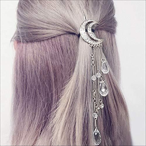 Efanty Haarspange Mond Kristall Haarschmuck, Kristall-Haarspangen, Retro-Haarclips mit Strass für Hochzeitsfeste, Kopfschmuck für Frauen