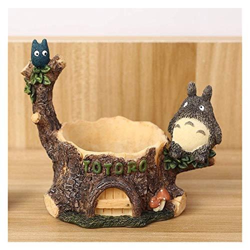 DWhui Maceta Cubierta Decorativa Interior/Exterior Planta Creativa Totoro Resina Maceta Plantas suculentas plantador Mini casa jardín decoración Bonsai Escritorio artesanías