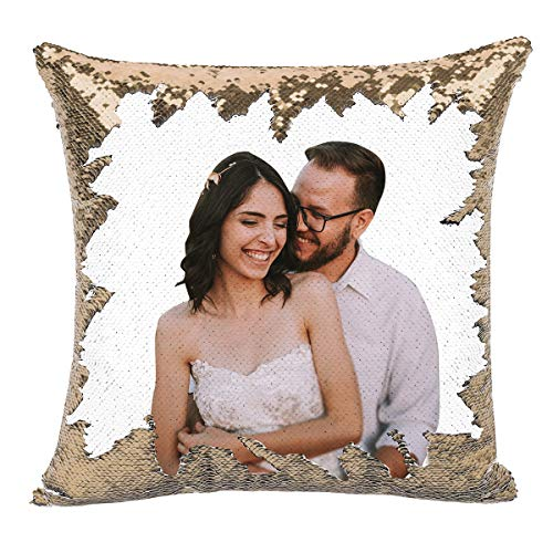 Custom Pillow, 16x16Personalized Custom Photo Sequin Pillow with Your Photos(Including Pillow Insertion) - Wedding Keepsake Pillow Magic Reversible Home Decor Personalized Customized Gifts (champag)