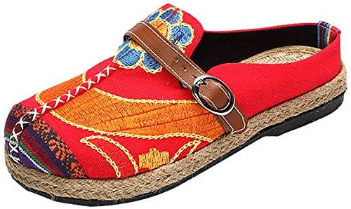 Tezoo Pantoletten, Damen Sommer Slipper Espadrilles Hausschuhe Flache Schuhe aus Leinen Bestickte Bunte Schuhe Traditioneller Peking-Stil (42, Rot)