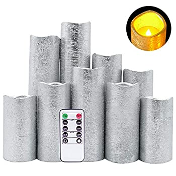 DRomance LED Flameless Flickering Candles Battery Operated with Remote and Timer Set of 9 Silver Coating Warm Light Real Wax Pillar Candles for Christmas Home Decoration D 2.2 x H 4 -9