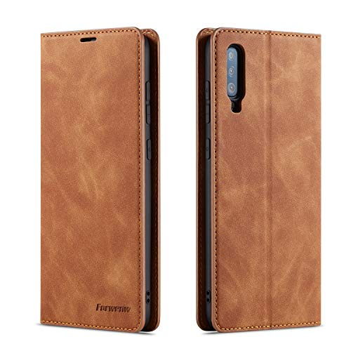 QLTYPRI Forwenw Vintage Étui Portefeuille en Cuir pour Samsung A Samsung Galaxy A70 Marron
