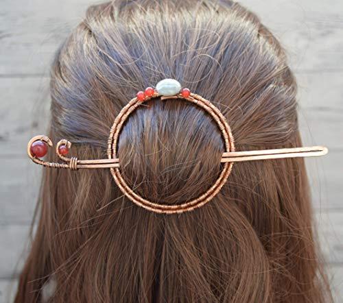 Pasador Circular De Estilo Celta Con Cornalinas y Agata India - Palo Del Pelo Con Piedras Rojas - Pinza Cabello Metal