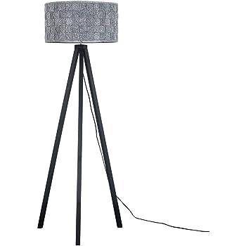 Modern Black Wood Tripod Design Floor Lamp with a Black Cylinder Shade