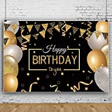 Birthday Party Decoration, Extra Large Fabric Sign Poster for Anniversary Photo Booth Backdrop Background Banner, Birthday Party Supplies (Oro Nero) (B)