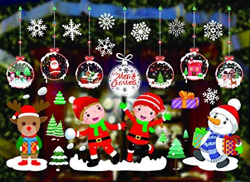 KATELUO Natale Vetrofanie Finestra Sticker, Natale Vetrofanie Fiocchi di Neve Alce Babbo Natale...