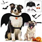 Dog Bat Wings, Halloween Bloody Headband Outgeek Dogs Halloween Costume Cosplay with Dog Leash Pumpkin Bells for Cat Dogs Puppy Dress Up Accessories