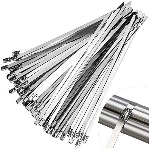 Demason Lot de 100 Colliers de Serrage inox - 200 x 4.6 mm - Attache Câble Autobloquant Bandage de Serrage pour Maison Bureau Garage Atelier