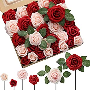 DerBlue 60pcs Three Different Sizes Artificial Roses Flowers Fake Rose Foam Roses Bulk w/Stem for DIY Wedding Bouquets Corsages Centerpieces Arrangements Baby Shower Cake Flower Decorations