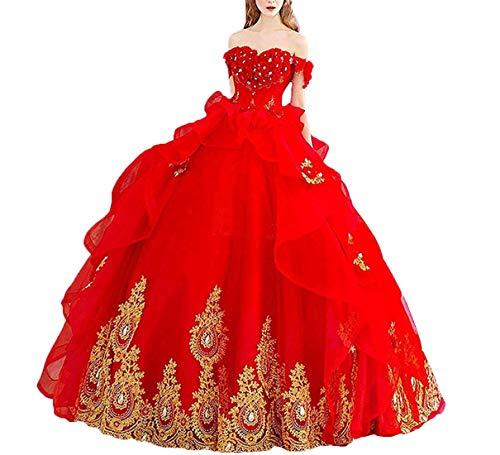 P.L.X Damen Lange A-Linie Schulterfreies Kleid Lange Gotisch Hochzeitskleider Prinzessin Vintage Brautkleider
