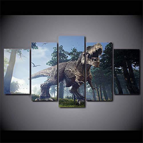 Modern Art Anime 5 Stück/Set HD Leinwand Wandbild Bild Zuhause Dekorationen Kunstdruck Wandbild Home Office Ölgemälde Auf Leinwandbild Wohnung Deko Jurassic 80/60/40x30CM Frameless