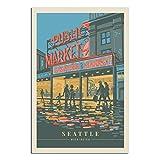 Vintage-Reise-Poster, Seattle Washington, Leinwandkunst,