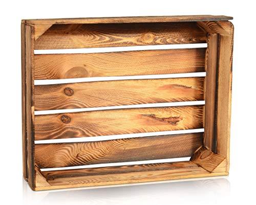 CHICCIE Geflammte Obstkisten - 50cm x 40cm Holzkisten Weinkisten Holz Kisten Apfelkisten Obstkiste Gebrannt
