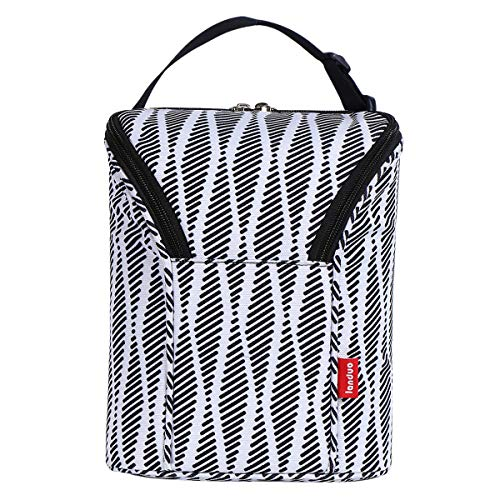 Landuo Insulated Baby Bottle Cooler Bag Double Baby Bottle Travel Double Baby Bottle Warmer or Cool (White)