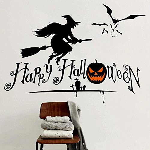SUNER-EUR Horror Heks Decoratie Waterdichte Verwijderbare Stickers Diy Muurstickers Halloween Mural Window Stickers