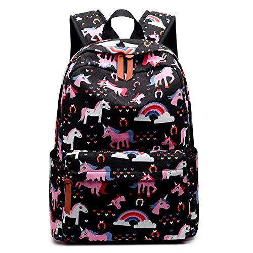 Schoolbags for Primary and Middle School Students, New Children's Backpacks, Cartoon Cute Cats, Lightening Spine Protection schoolbags (Unicorn Black, 30.0 cm * 14.0 cm * 43.0 cm)