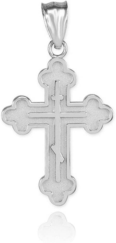 Fine 14k White Gold Eastern Orthodox Pendant Cross Detroit New item Mall Charm