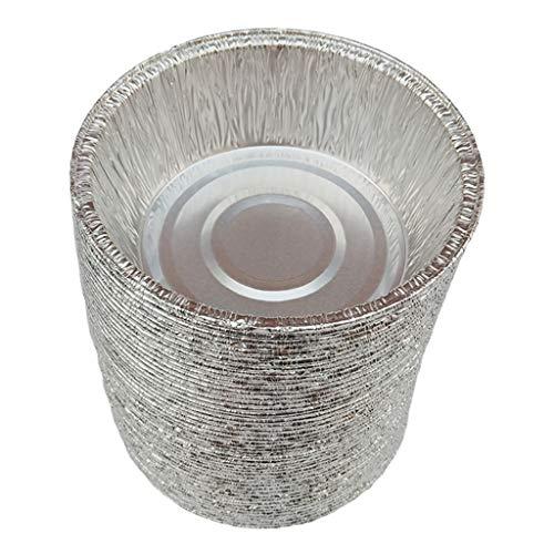 perfk Aluschalen rund Grill Alu-Tropfschalen Einwegschalen Grillschalen für Küche Garten Camping - 240 ml, 50 Stück
