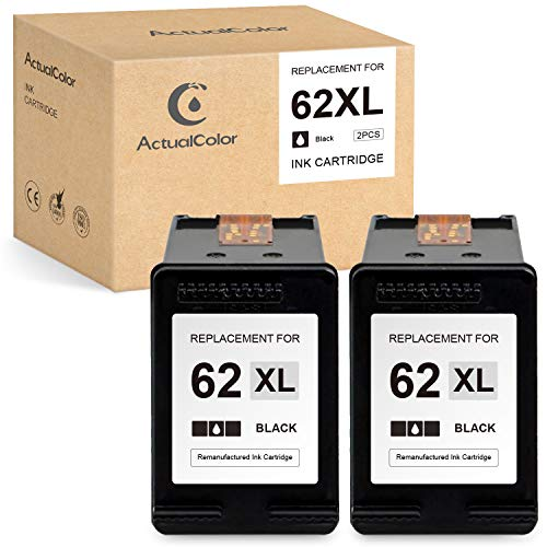 ActualColor C Remanufactured Ink Cartridge Replacement for HP 62 XL 62XL C2P05AN for OfficeJet 200 250 5740 5741 5745 5746 Envy 5540 5542 5660 7640 7645 7644 5661 5640 5640 5642 8000 (Black,2 Pack)