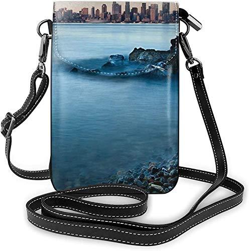 Fashion Cell Phone Purse Calm Sea And Rocks Small Crossbody Bags Women Girl Pu Shoulder Bag Handbag
