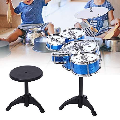 Instrumentos musicales para niños pequeños - Juguete para instrumentos musicales de simulación de batería para niños pequeños con taburete, conjunto de juguetes musicales para niños y niñas(Azul)