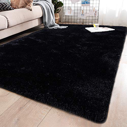 YJ.GWL Soft Shaggy Area Rugs for Bedroom Fluffy Living Room Rugs Anti-Skid Nursery Girls Carpets Kids Home Decor Rugs 4 x 5.3 Feet Grey
