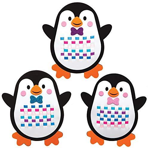 Baker Ross AT239 Pinguin Bastelset zum Weben (6 Stück) Basteln Kinder zu Weihnachten, Sortiert