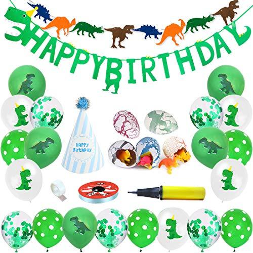 Decorazioni compleanno dinosauro, striscioni di buon compleanno / Palloncini di dinosauro / Zigolo di dinosauro / Uova di cova / Cappello a strisce di compleanno per bambina (Confezione da 28 pezzi)
