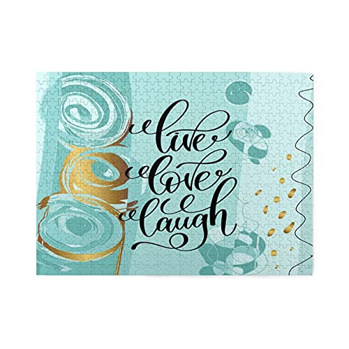 Rompecabezas de 500 piezas,letras de risa de amor en vivo,cita positiva en una frase abstracta de motivación e inspiración,ilustraciones de juegos de rompecabezas para familias grandes
