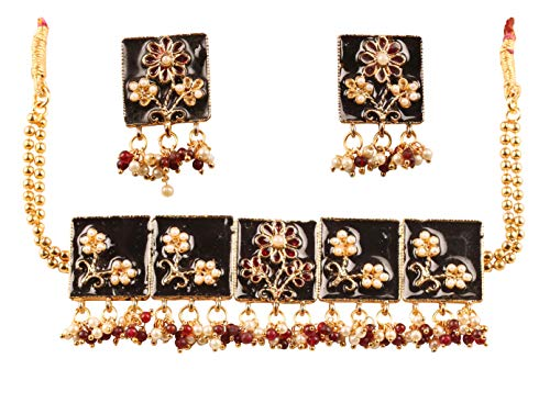 Touchstone New Indian Bollywood Desire Beautifully Hand Crafted Floral Theme Exotic Jaipur Meenakari Faux Ruby Pearls Classic Choker Necklace Set in Gold Tone for Women