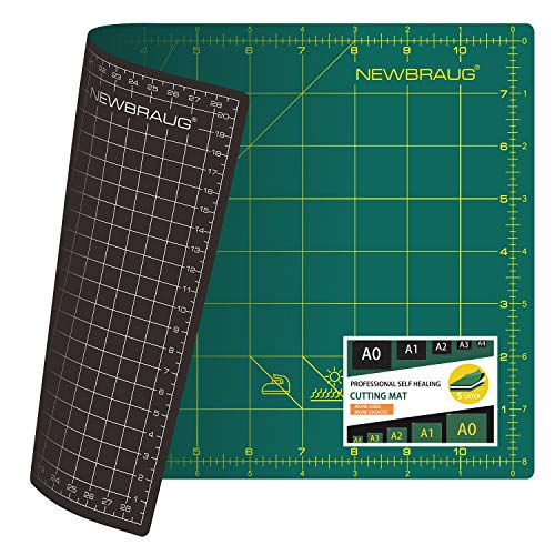 NEWBRAUG 9'' × 12'' Professional Self Healing Cutting Double Sided 5-Ply Mat, Best Gridded Rotary Cutting Board for Quilting, Sewing, Craft, Fabric & Scrapbooking (Green/Black)