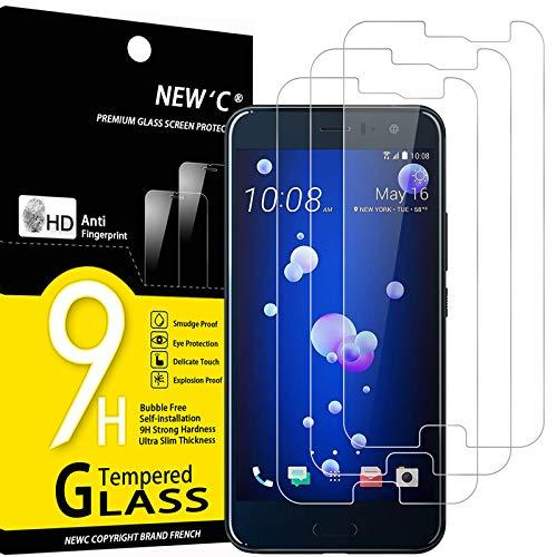 NEW'C 3 Stück, Schutzfolie Panzerglas für HTC U11, Frei von Kratzern, 9H Festigkeit, HD Bildschirmschutzfolie, 0.33mm Ultra-klar, Ultrawiderstandsfähig