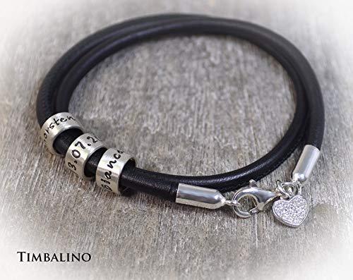 Armband aus Nappaleder mit Gravur Silberanhänger Herzanhänger