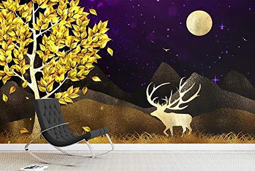 Fotomurales 3D Papel Pintado Pared Pico De La Montaña Del Alce Del Árbol De Oro Abstracto Papel Pintado Fotográfico Mural Salón Dormitorio Decoración de Paredes Wallpaper 300cmx210cm