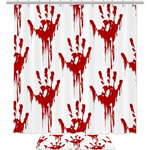 imobaby Shower Curtain Set Bloody Hand Prints Waterproof Bath Shower Curtain with Non Slip Area Rugs Doormat