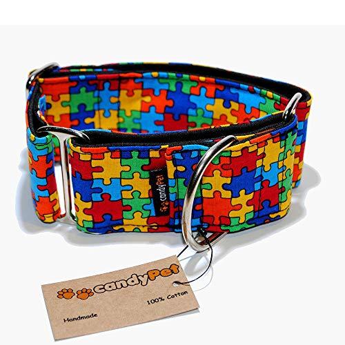 candyPet Halsband für Hunde aus Baumwolle – Hundehalsband – Handarbeit – extra breit – in 4 Größen – mit oder ohne Clickverschluss – leicht verstellbar -Puzzle Martingal 5cm (30-50cm)