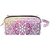 Bolsas de maquillaje, Mandala Bohemia Florales Pequeñas bolsas de maquillaje para mujeres y niñas, bolsa organizadora portátil impermeable con asa