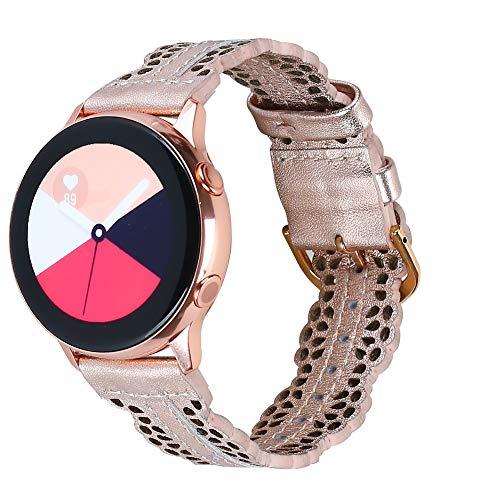 Glebo Leder Armband Kompatibel mit Samsung Galaxy Watch 42mm / Active 40mm / Active 2 (40mm/44mm) für Damen, 20mm Chic Leder Uhrenarmband Ersatzband für Samsung Gear S2 Classic/Gear Sport (Rosegold)