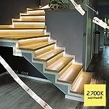 proventa LED-Treppenstufenbeleuchtung, Komplettset fr 15 Stufen, 2.700K warmwei, montagefreundliche Steckverbindung