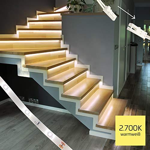 proventa® LED-Treppenstufenbeleuchtung, Komplettset für 15 Stufen, 2.700K warmweiß, montagefreundliche Steckverbindung