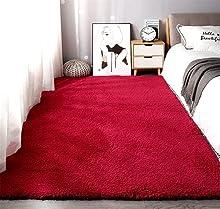 Alfombras de Moderna para Salon de Estar de Pila Gruesa No se desprenden y Alfombra de Dormitorio; Alfombra de Cordero de Cachemira Artificial,Alfombra mullida。 (Vino Rojo, 80x160cm)