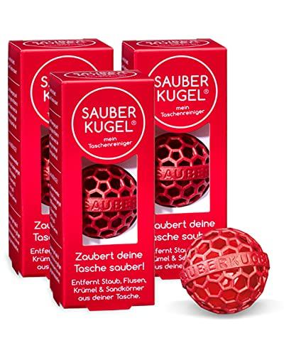 SAUBERKUGEL® für die Tasche   3er Set   Wiederverwendbarer Taschenreiniger für Handtasche, Schulranzen & Rucksäcke   Nimmt Schmutz, Krümel & Flusen auf   Silikon- und PVC frei (3,5 cm)