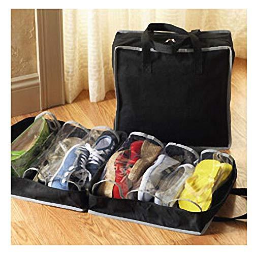 Shoe Tote Zapatero de Viaje Organizador para llevar Zapatos Ahorra Espacio Bolsas para Zapatos Maletas Tela Multifuncional Bolsas de Viaje para Shoes Almacenar Impermeables A Prueba de Polvo (Negro)